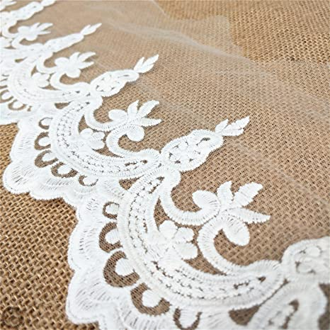 5 Yards White Embroidered Lace Edge Trim Ribbon Wedding Applique Sewing Craft