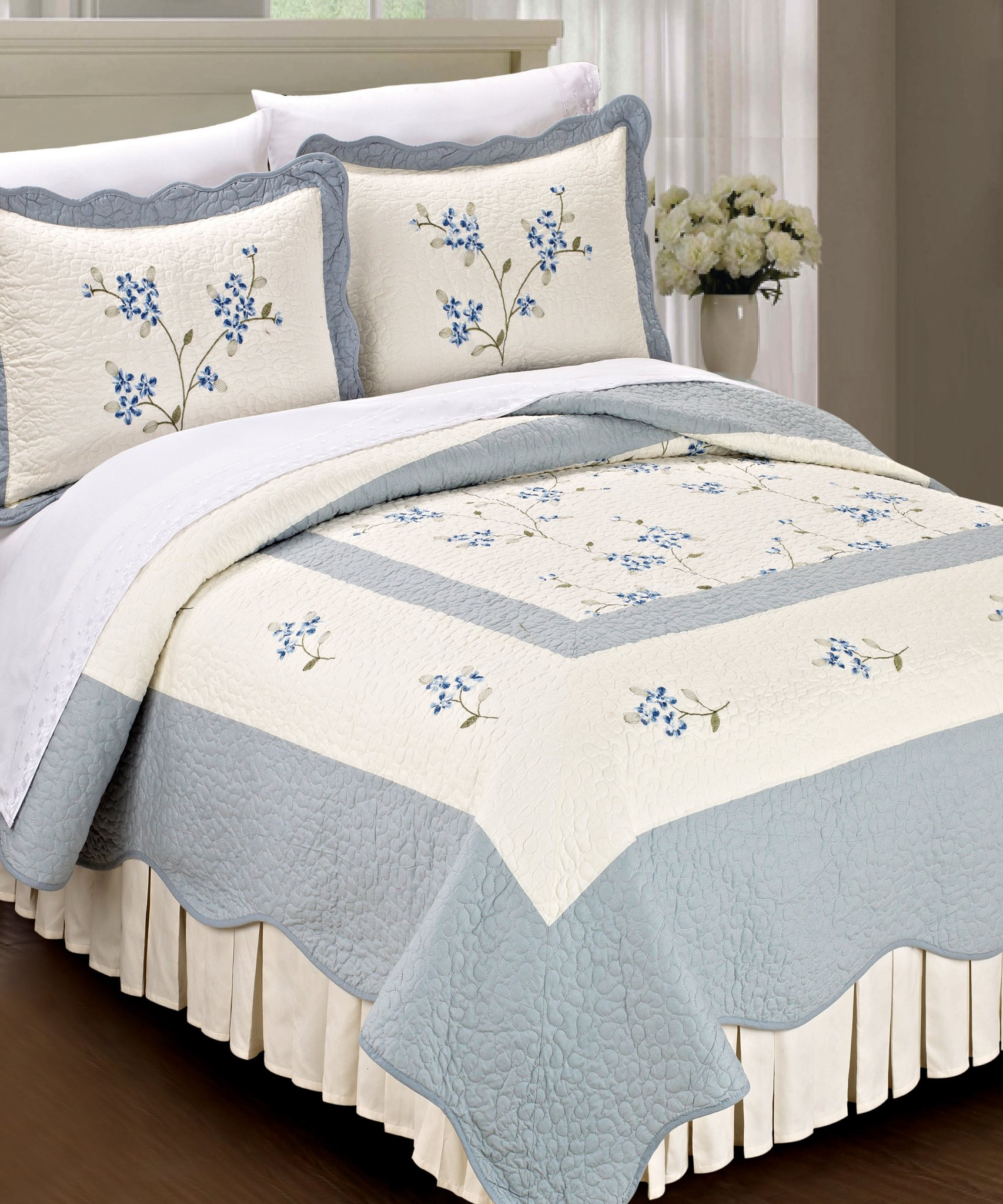 Serenta Classic Blue Hawaiian Flowers 100% Cotton Bedspread Quilt Blanket 3 Pieces Bed Set, King - Please Check Dimensions Carefully (1) King Bedspread: 102 x 94 Inches (2) King Shams: 20 x 30 + 2 Inches - sheet-sets, bedroom-sheets-comforters, bedroom - 919ECDfztsL -