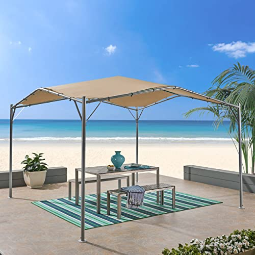 Great Deal Furniture Tate Outdoor 11.5 by 11.5 Modern Gazebo Canopy, Beige and Silver