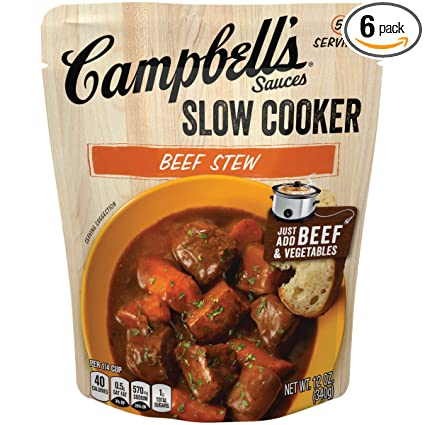 Amazon Com Campbell S Slow Cooker Sauces Beef Stew 12 Oz Pouch Pack Of 6 Grocery Gourmet Food