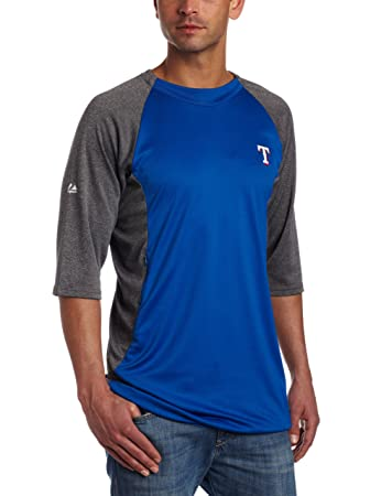 outlet store 70791 e19f4 MLB Texas Rangers 3/4 Sleeve Crew Neck Featherweight Tech Fleece Pullover,  Blue/Grey, Large