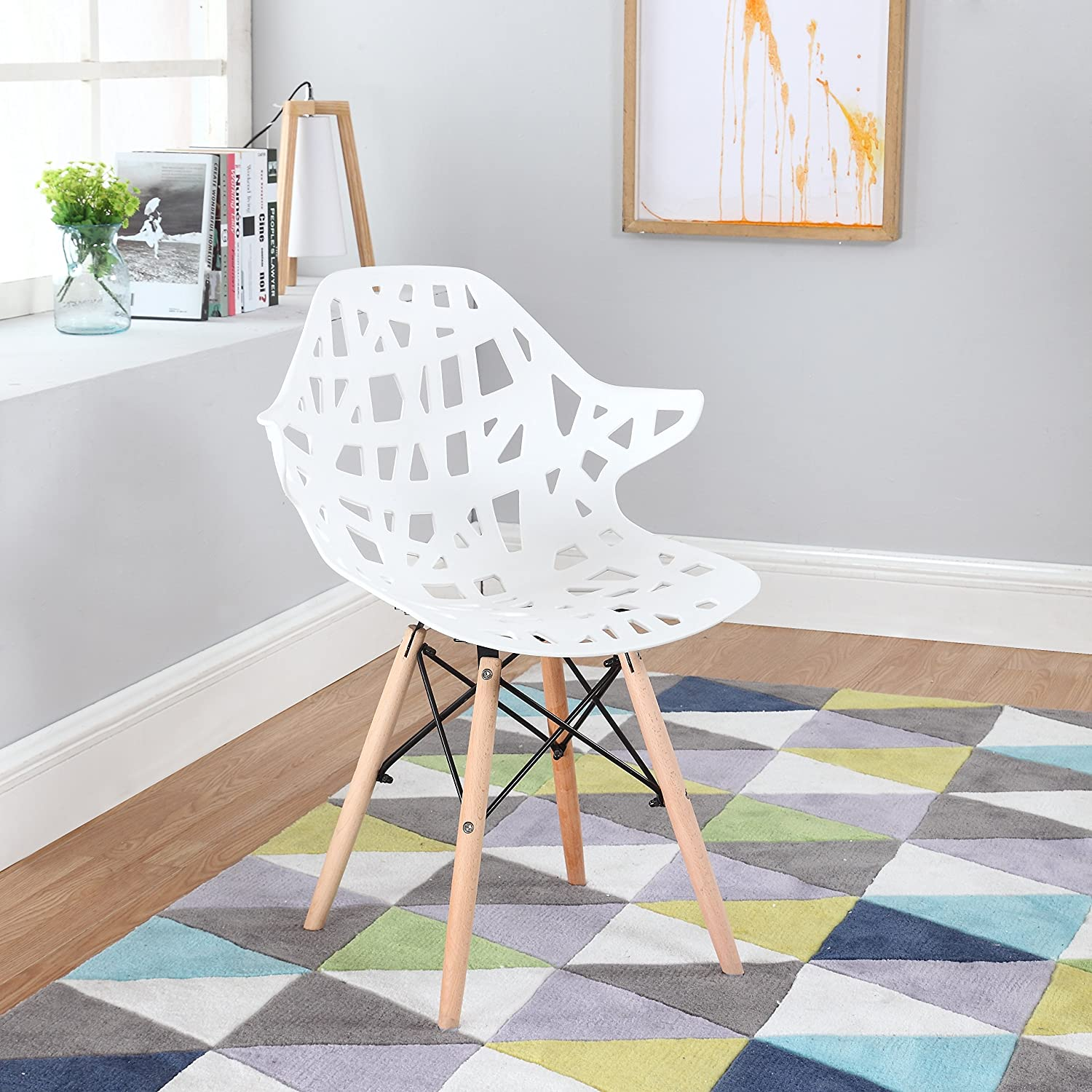 Modern Set of 2 Hollow-Out Style Chair with Natural Wood Legs (White)