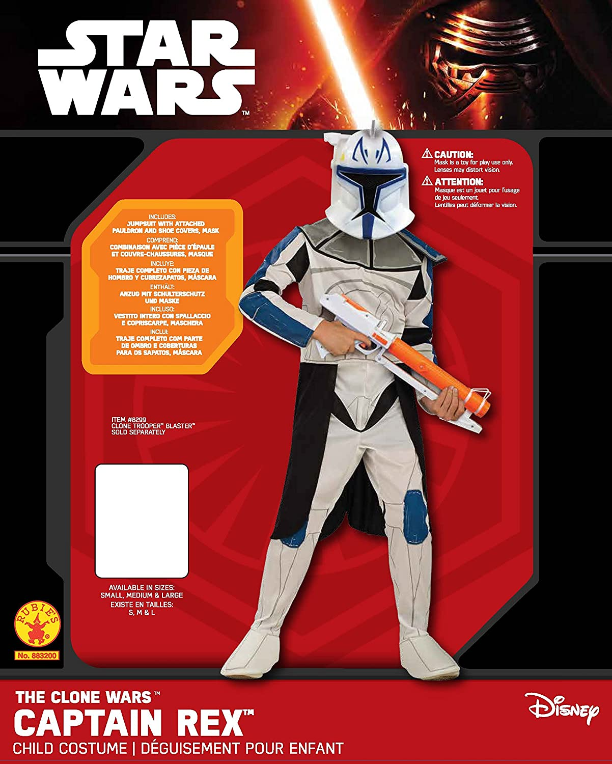 Amazon.com: Rubies Star Wars Clone Wars Childs Captain Rex Costume, Small: Toys & Games