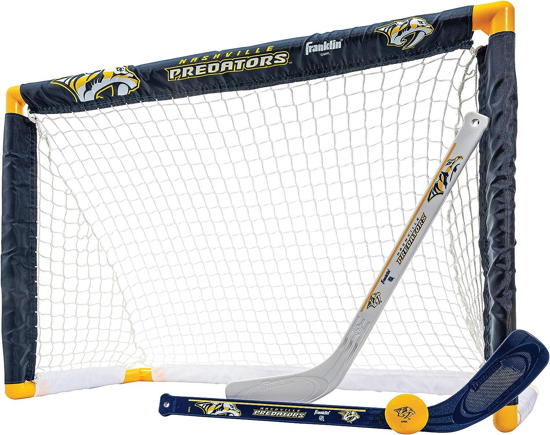 Franklin Sports Nashville Predators Mini Hockey Set - Knee Hockey Goal, Ball, & 2 Hockey Stick Combo Set - Mini Goal Net - NHL Official Hockey Set : Sports & Outdoors