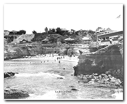 Amazon san diego la jolla cove 1900 vintage ocean old city san diego la jolla cove 1900 vintage ocean old city black and white wall decor art reheart Images