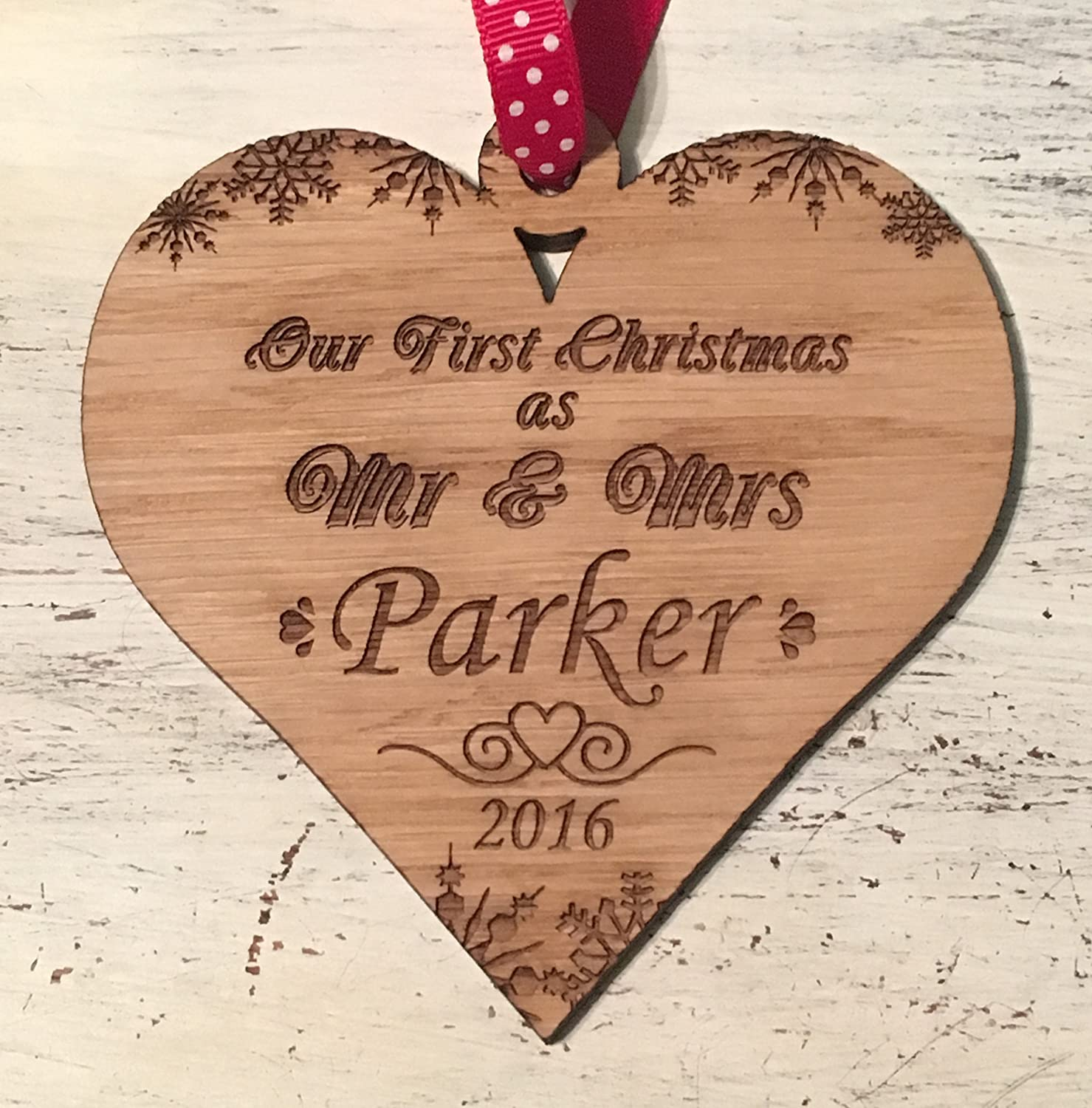 Mr and mrs christmas tree decoration - Snow Design Wooden Personalised Mr Mrs First Christmas Tree Decoration Oak Amazon Co Uk Kitchen Home