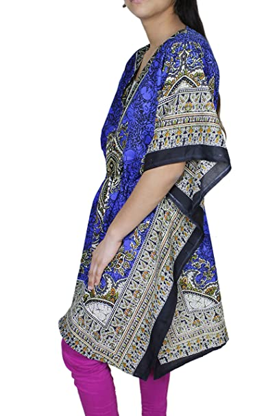 Rayon para mujer vestido corto superior caftán encubrir túnica tamaño libre del vestido del verano indio: Amazon.es: Ropa y accesorios