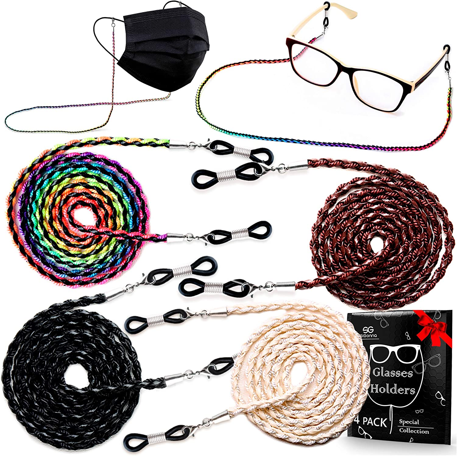 Jewelry Eyeglass Chains for Women Eyeglasses Holder Clip Glasses Strap Grips Lanyard Set of 2