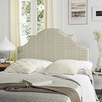 Attractive Safavieh Hallmar Wheat/ Pale Blue Upholstered Arched Headboard   Silver  Nailhead (Queen)