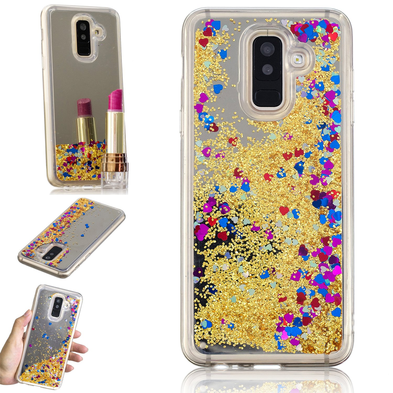 HopMore Samsung Galaxy A6 Plus (2018) Hü lle Silikon Glitzer 3D Flü ssig Transparent Kreativ Muster Schutzhü lle Durchsichtig Handyhü lle Ultra Dü nn Stoß fest Gummi Case Cover Slim Bumper - Rosa Silicone