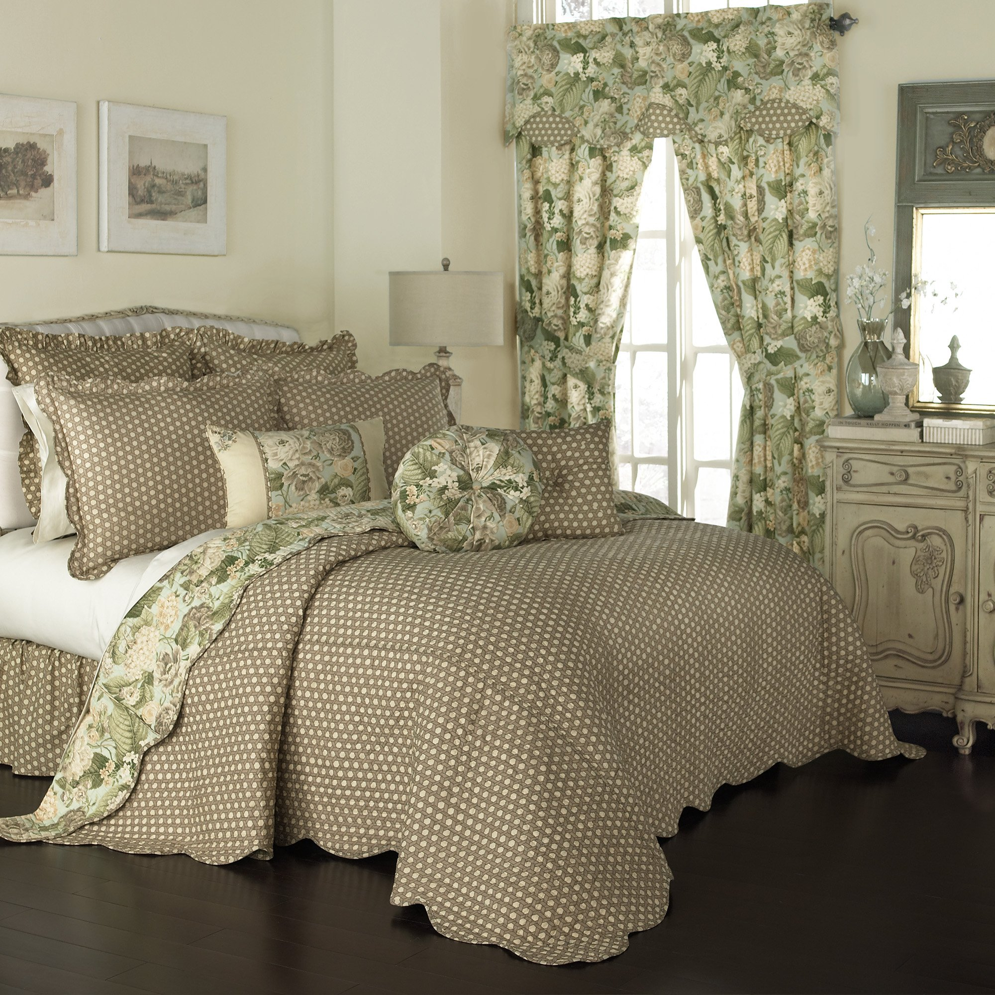 Waverly Garden Glory Bedspread Collection, 120x110, Mist