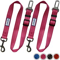 Zenify Dog Car Seat Belt Seatbelt Lead Puppy Harness - Heavy Duty Adjustable Carseat Clip Buckle Leash for Dogs Puppies Pets Travel - Pet Safe Collar Accessories Supplies Truck Safety (Pink 2 Pack)