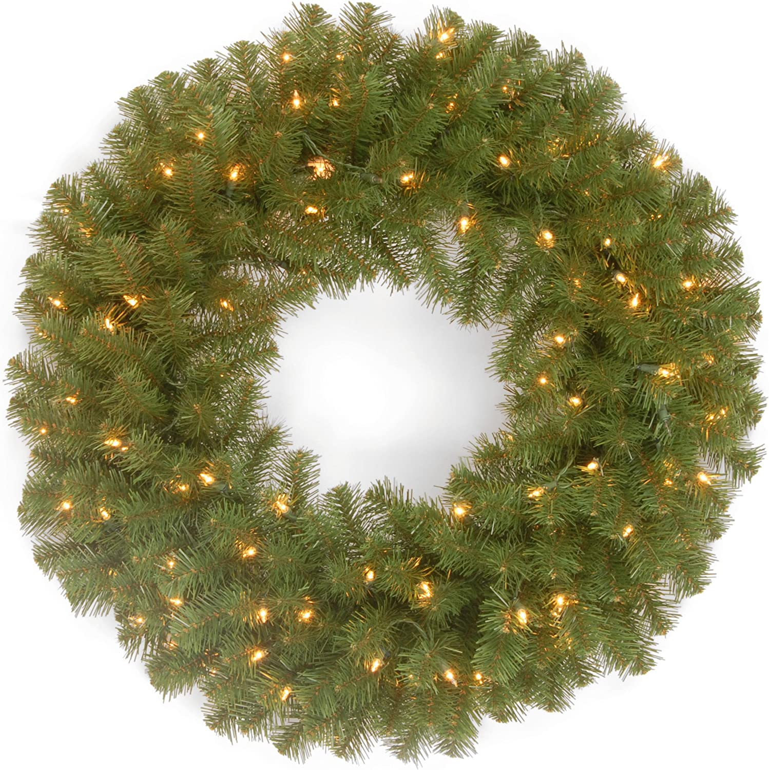National Tree Company Pre Lit Artificial Christmas Wreath Includes Pre Strung White Lights North Valley Spruce 24 Inch Amazon Co Uk Kitchen Home