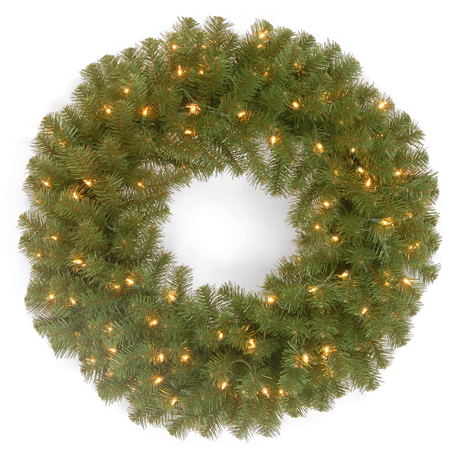 National Tree 24 Inch North Valley Spruce Wreath with 50 Clear Lights (NRV7-300-24W-1)