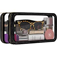 Clear Makeup Bag and Cosmetic Organizer – Dual-Side, Saffiano Leather with Clear TPU Windows and Brush Organizer – TSA…