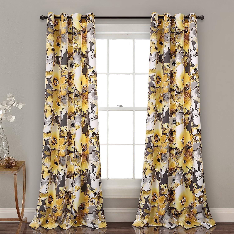 "Lush Decor Floral Watercolor Room Darkening Window Panel Set, 84"" x 52"", Yellow and Gray"