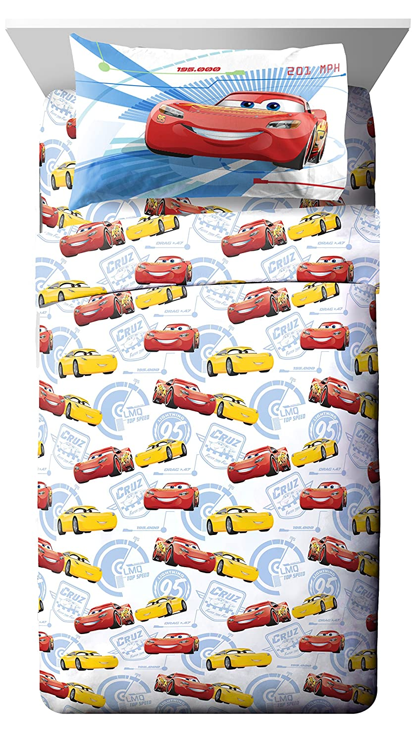 Jay Franco Cars 3 High Tech Twin 3 Piece Sheet Set, Red