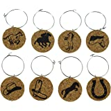 Cork Wine Glass Charms (20+ Unique Designs) - Set of 8 Horse Inspired Designs - Tags to Mark Your Drink (Horses)
