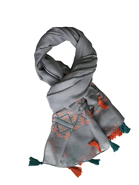 561a2af945c26 Lightweight Women Embroidered Fashion Scarf Shawl Wrap with Tassels for  Spring and Summer (Gray) at Amazon Women's Clothing store: