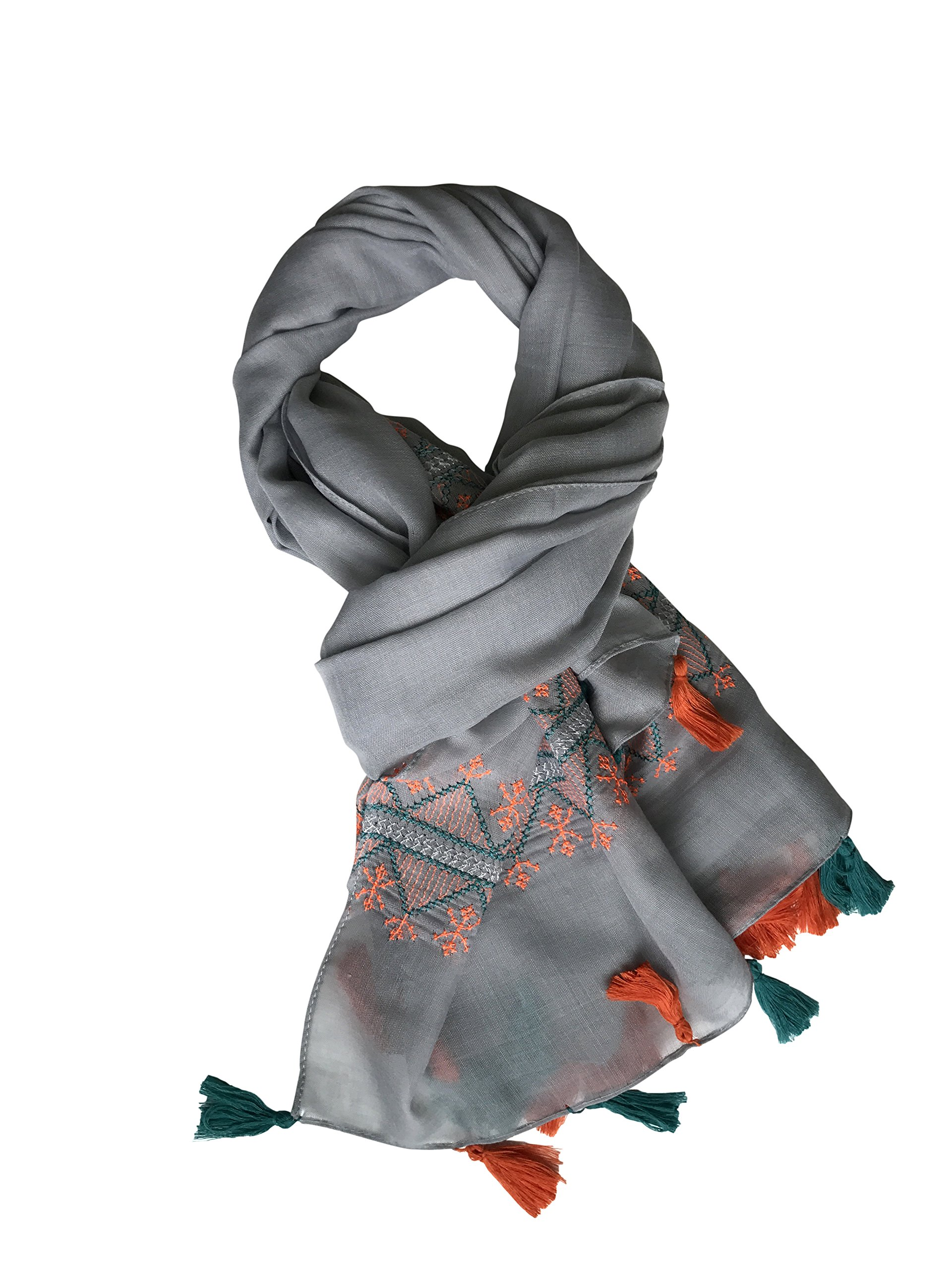 Lightweight Women Embroidered Fashion Scarf Shawl Wrap with Tassels for Spring and Summer (Gray)