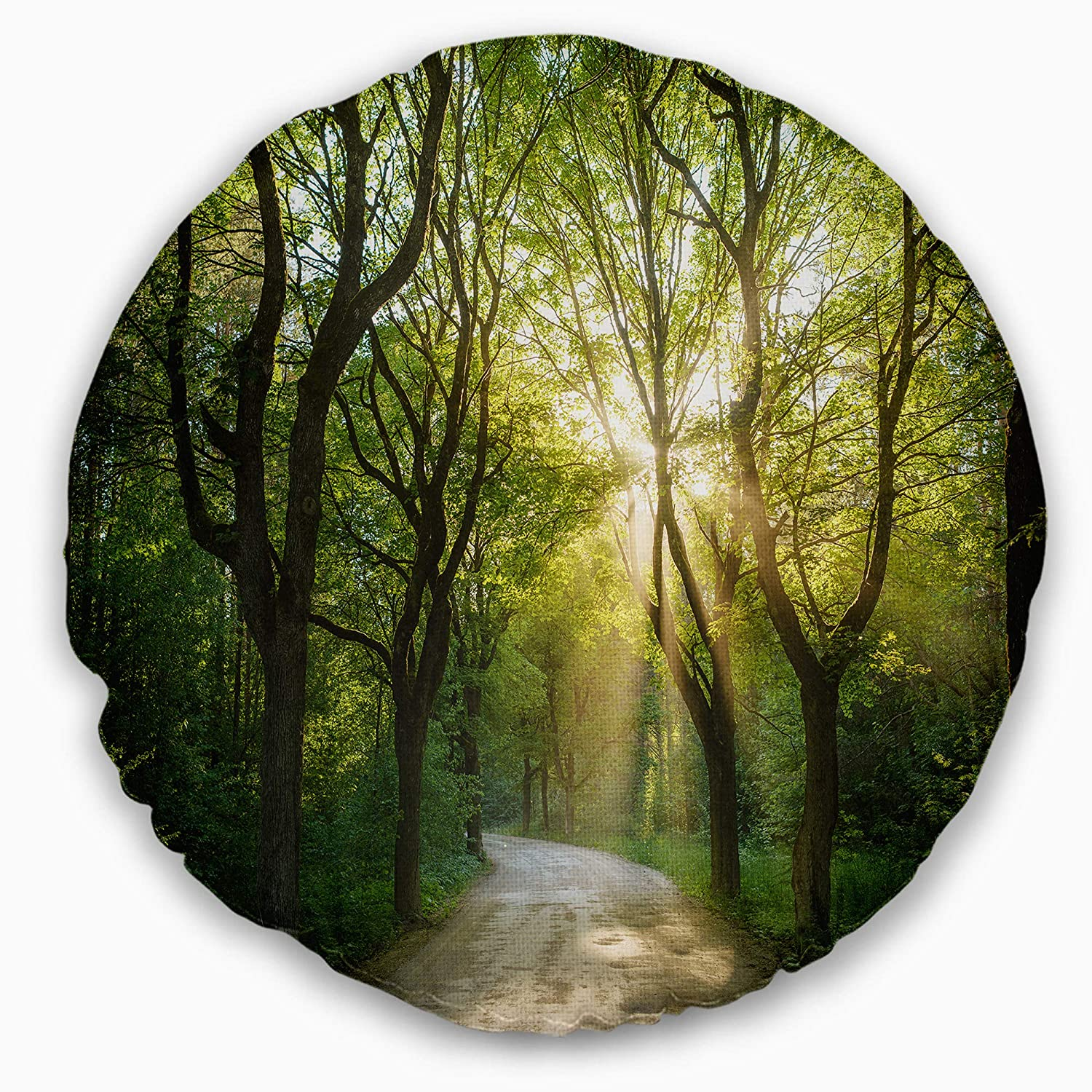 Designart CU15420-20-20-C Evening in Green Forest' Landscape Printed Round Cushion Cover for Living Room, Sofa Throw Pillow 20', Insert Side