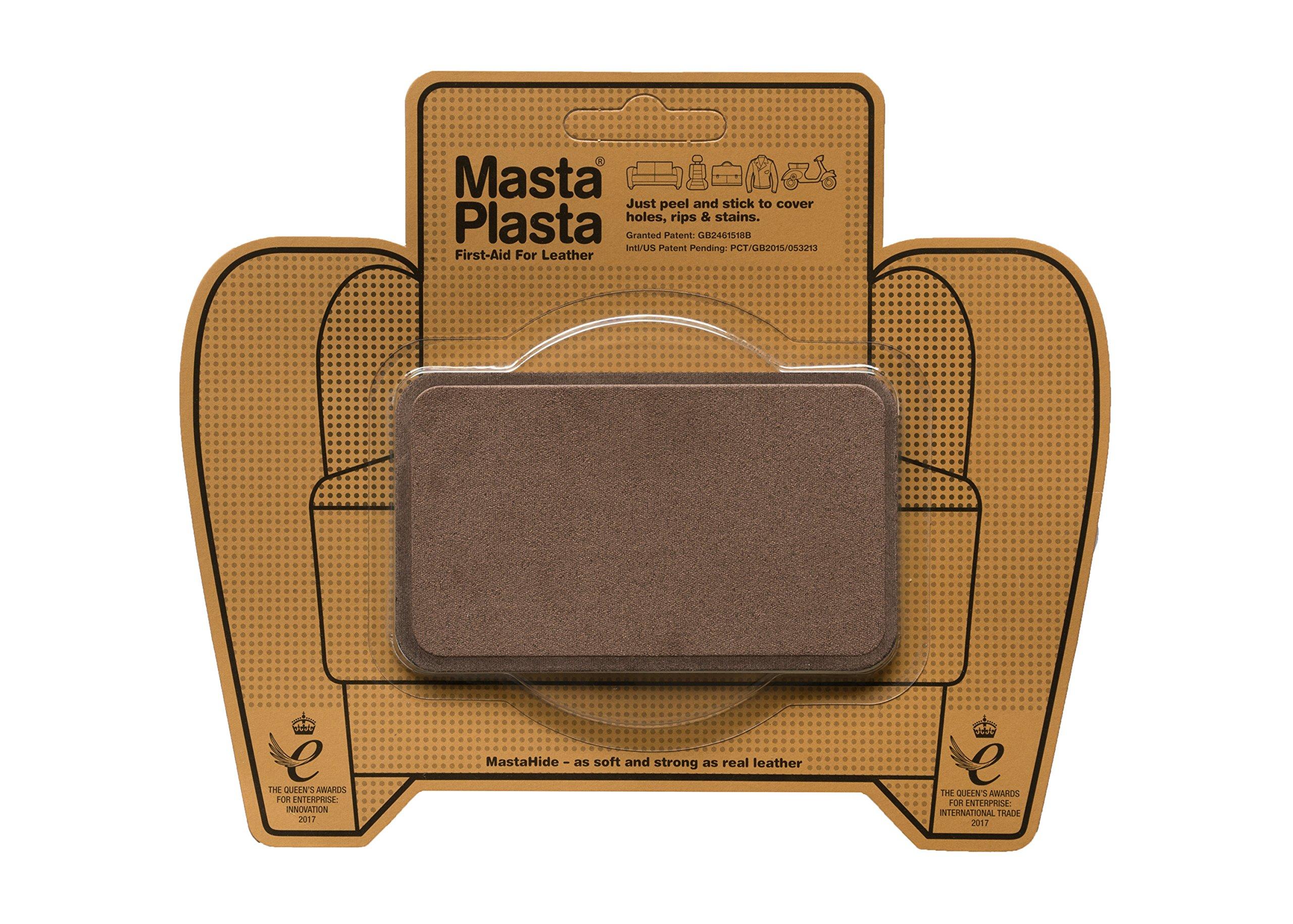 MastaPlasta Self-Adhesive Patch for Leather and Vinyl Repair, Medium, Suede, Brown - 4 x 2.4 Inch by MASTAPLASTA