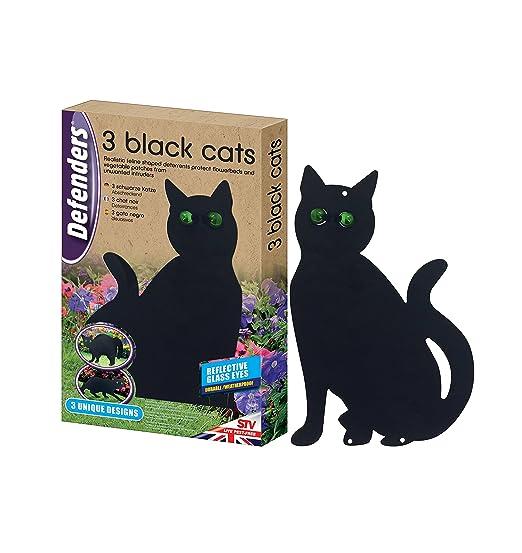 Defenders Tres Gatos Negros (disuasorio de Gatos, Asusta Gatos de Jardines y céspedes, Repelente Humano de Gatos), Negro, 798 g: Amazon.es: Jardín