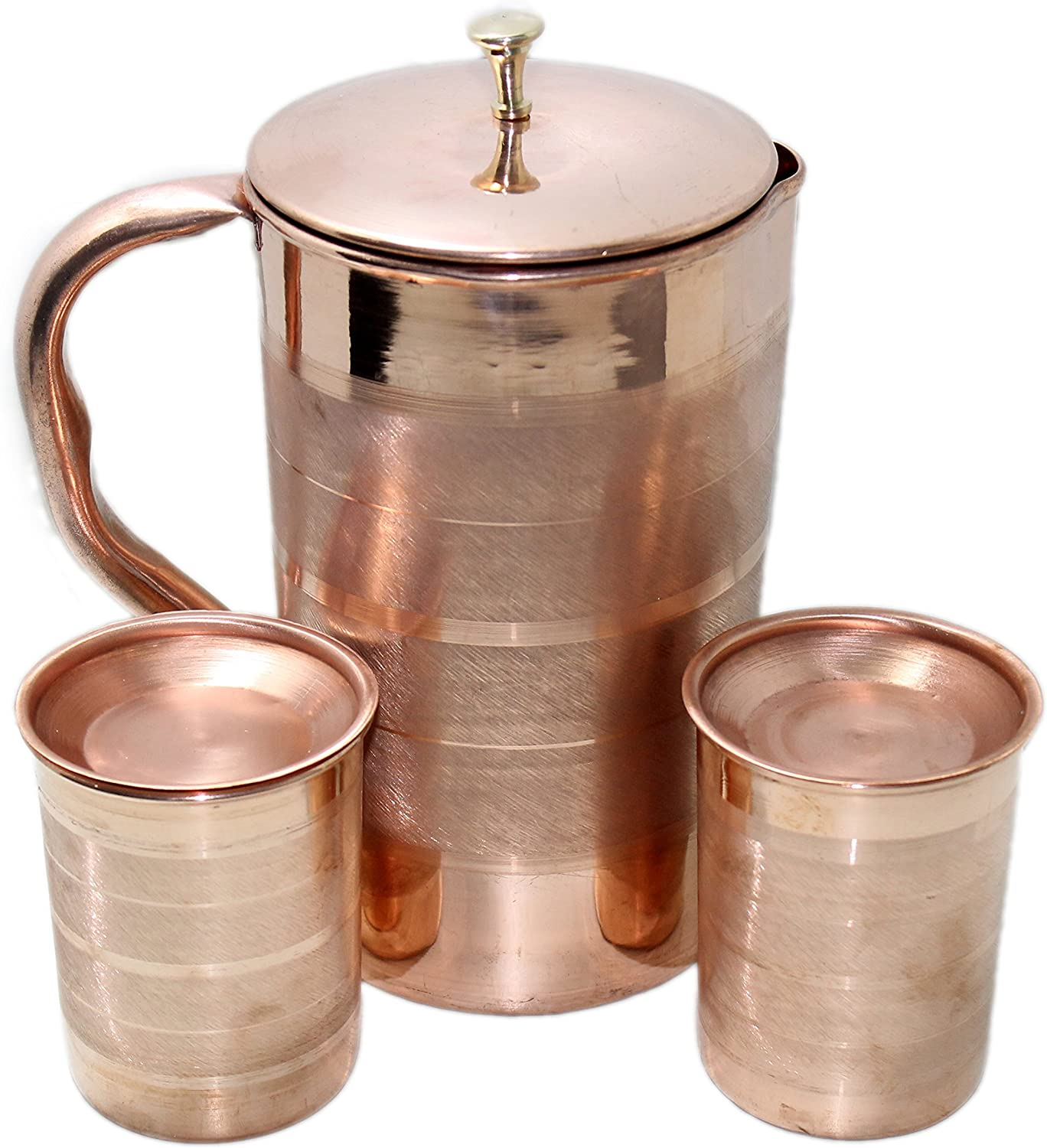 STREET CRAFT Pure Copper Pitcher Ayurveda Copper Jug Pitcher and Tumbler With Lid Copper pitcher with glass Copper jug Set Copper Luxury Finish