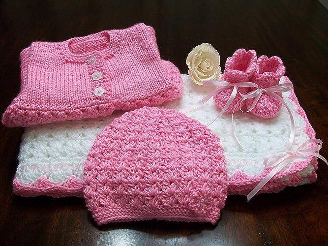 2ad26eed9ef93 Amazon.com: Pink Crochet Baby Blanket Afghan Set. Pink Baby Cardigan ...