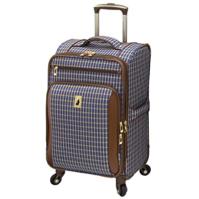 London Fog Kensington 21 Inch Expandable Spinner Carry-On, Blue Tan Plaid, One Size