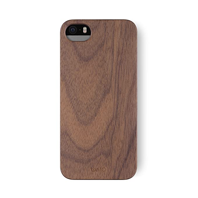 uk availability c0086 3edcb iATO iPhone SE / 5s / 5 Wooden Case - Real Walnut Wood Grain Premium  Protective Shockproof Slim Back Cover - Unique, Stylish & Classy Thin Snap  on ...