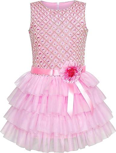 Sunny Fashion Vestido para niña Volante Fruncido Falda Rosa Flor ...