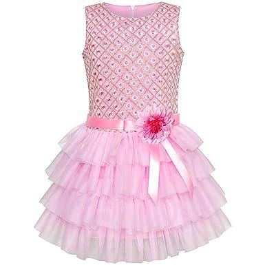 4c510c79f5d Sunny Fashion Robe Fille Ébouriffer Jupe Rose Fleur Anniversaire Partie 5  Ans