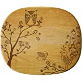 Talisman Designs Get Real Peacock Solid Beechwood Cheese Board, Woodland Design