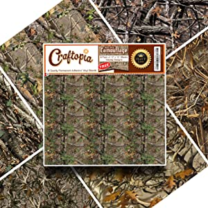 "NEW Vinyl Camo Self Adhesive Assorted Vinyl Sheets (6+1 PACK) | BEST Camoflage Vinyl for Cricut, Silhouette Cameo, Craft Cutters, Plotters, Letters, Decals (Realistic Real Camouflage 11.75"" x 11.75"")"