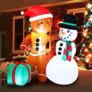 Joiedomi Christmas Inflatable Decoration 6 FT Happy Friendship Gingerbread Man & Snowman with Build-in LEDs Blow Up Inflatables forXmas Party Indoor, Outdoor, Yard, Garden, Lawn Winter Decor.