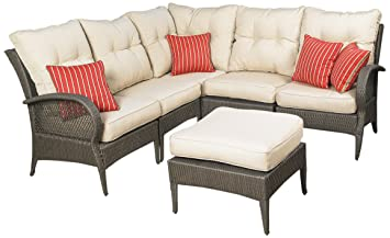 Attractive Mission Hills Laguna 6 Piece Patio Sectional Seating, Wicker, Dark  Brown/Light