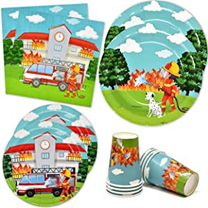 "Fire Truck Firefighter Party Supplies Tableware Set 24 9"" Paper Plates 24 7"" Plate 24 9 Oz Cup 50 Lunch Napkin for Fireman Rescue Station Department Engine Themed Disposable Birthday Baby Shower Decor"