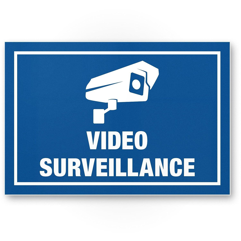 Video Surveillance Panneau (Bleu, 30 x 20 cm) –  Panneau Attention/Attention vidé o surveillance –  Panneau d'avertissement/pictogramme vidé o via –  dessiné e/avertisse