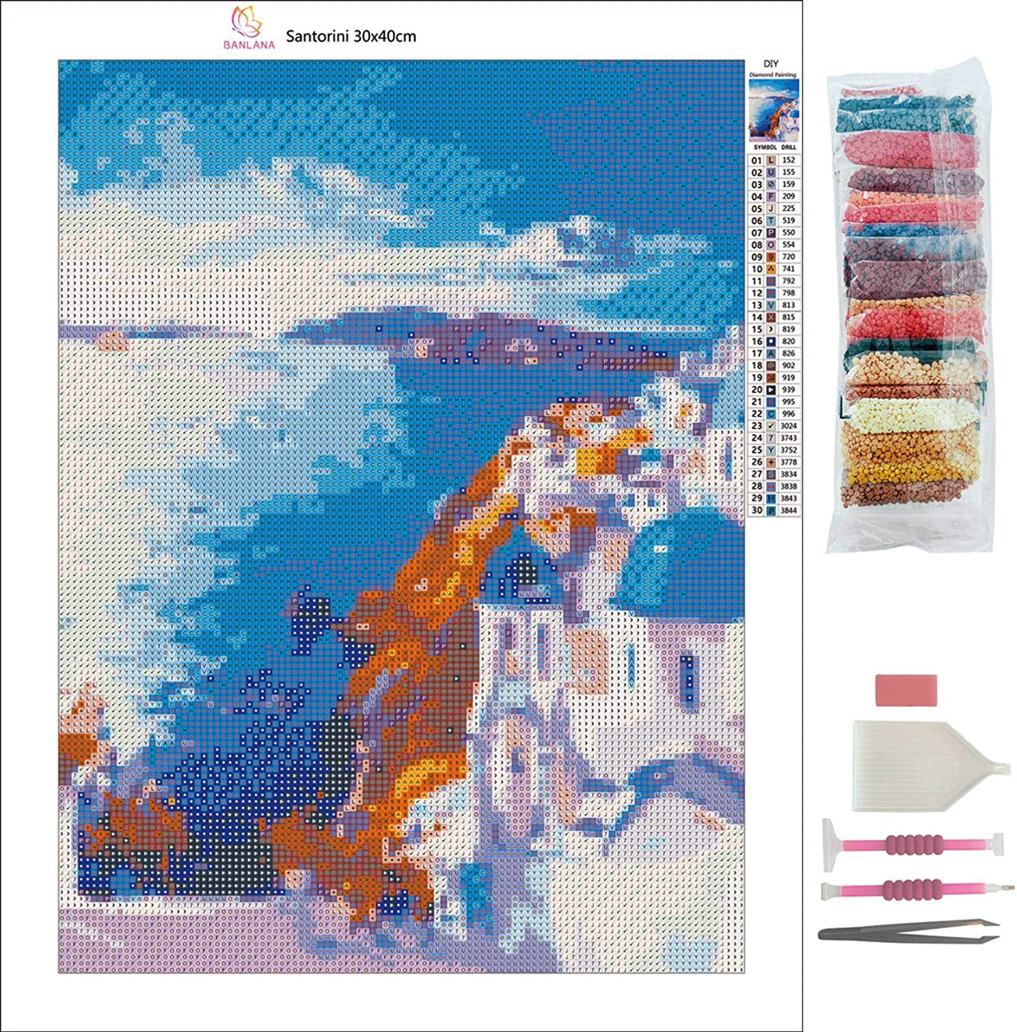 5D Diamond Painting Kits for Adults by BANLANA 12 by 16 Arts Craft for Home Wall Decor DIY Cross Stitch Crystal Rhinestone Embroidery Pictures Art Kit with Premium Tools Santorini