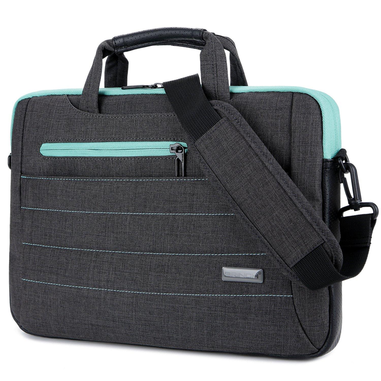 BRINCH 15-15.6 Inch Multi-functional Suit Fabric Portable Laptop Sleeve Case Shoulder Messenger Bag Briefcase for Laptop, Tablet, Macbook, Notebook - Black-Green