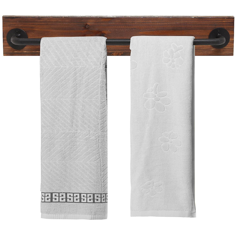 Rustic Wood & Metal Wall Mounted Towel Bar / Hanging Rod Unit For Modular Storage Racks cheap