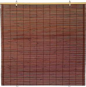 "ORIENTAL Furniture Bamboo Cordless Window Shade - Mahogany 36"" W"