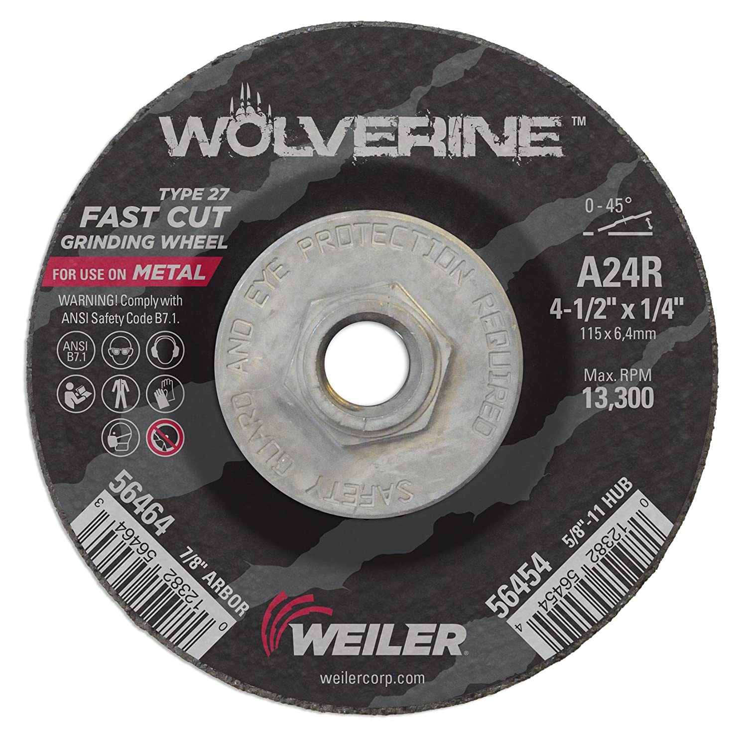 A24R Pack of 10 5//8-11 UNC Nut Weiler 56454 4-1//2 x 1//4 Wolverine Type 27 Grinding Wheel