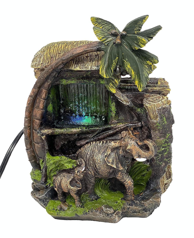 ImagiWonder Tabletop Water Fountain Elephants Near Palm Tree and Tiki Hut