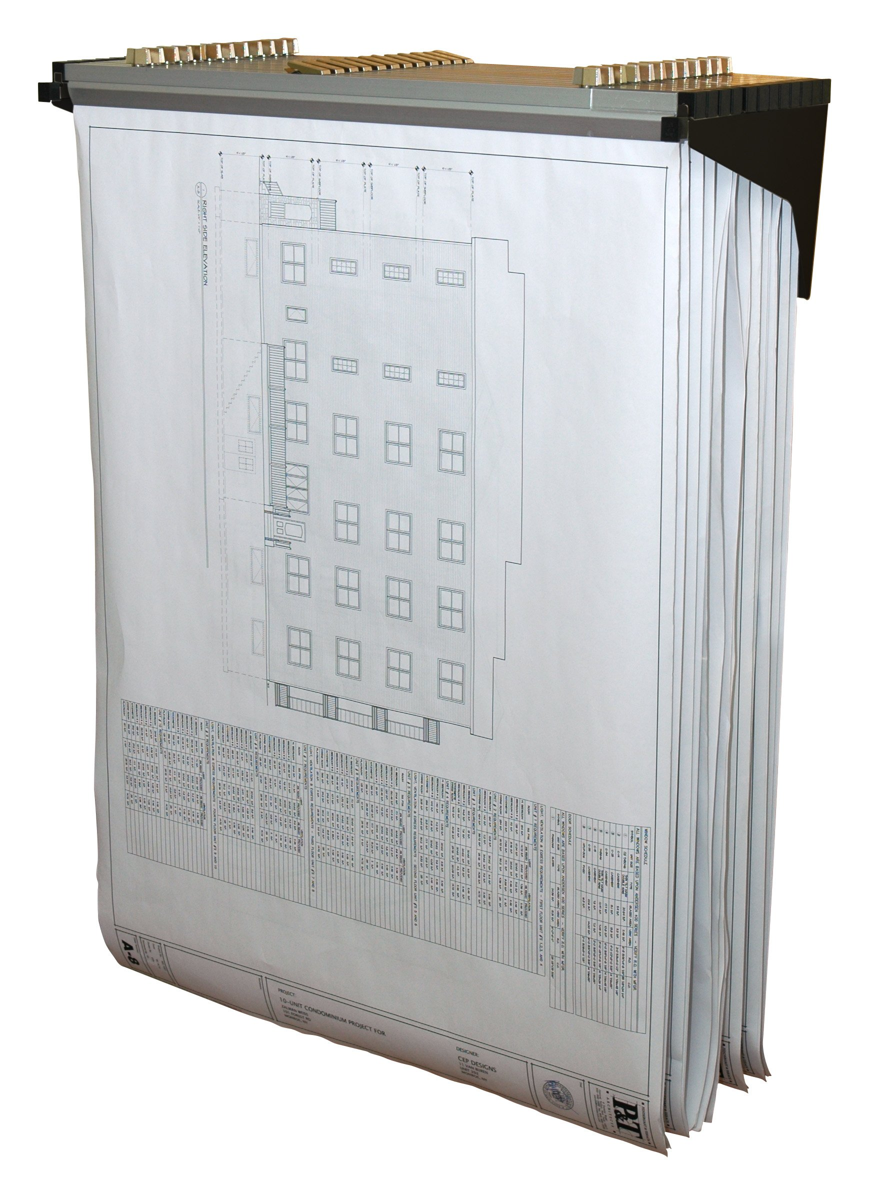 Adir Corp. Drop - Lift Wall Rack for Blueprints - Plans, Black (With 12 24'' File Hanging Clamps)