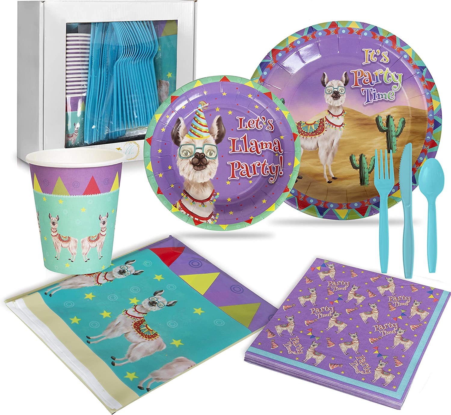Llama Birthday Party Supplies for Boys, Girls and Adults (16 Guests)   Fun Fiesta Llama-Themed Birthday and Event Kit   Dinner and Dessert Plates, Cups, Napkins, Tablecloth and Cutlery