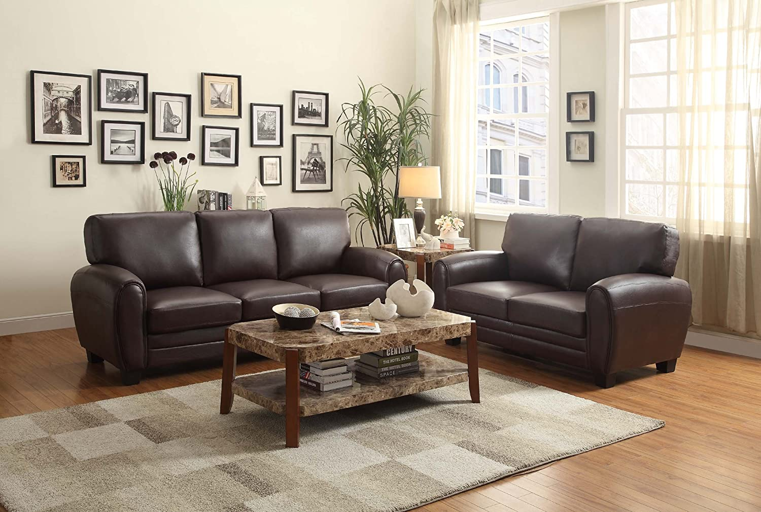 amazon com homelegance 9734db 2 upholstered loveseat dark brown