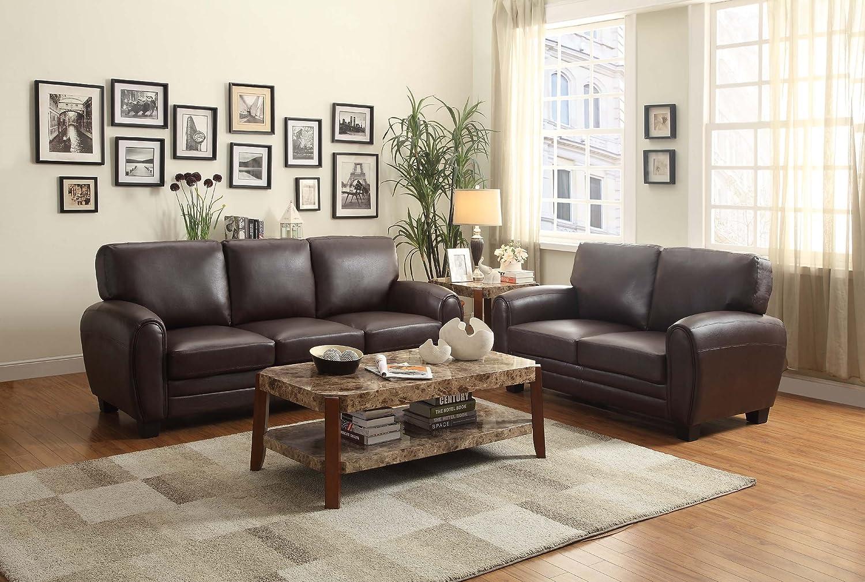 Amazon.com: Homelegance 9734DB 3 Upholstered Sofa, Dark Brown Bonded Leather  Match: Kitchen U0026 Dining