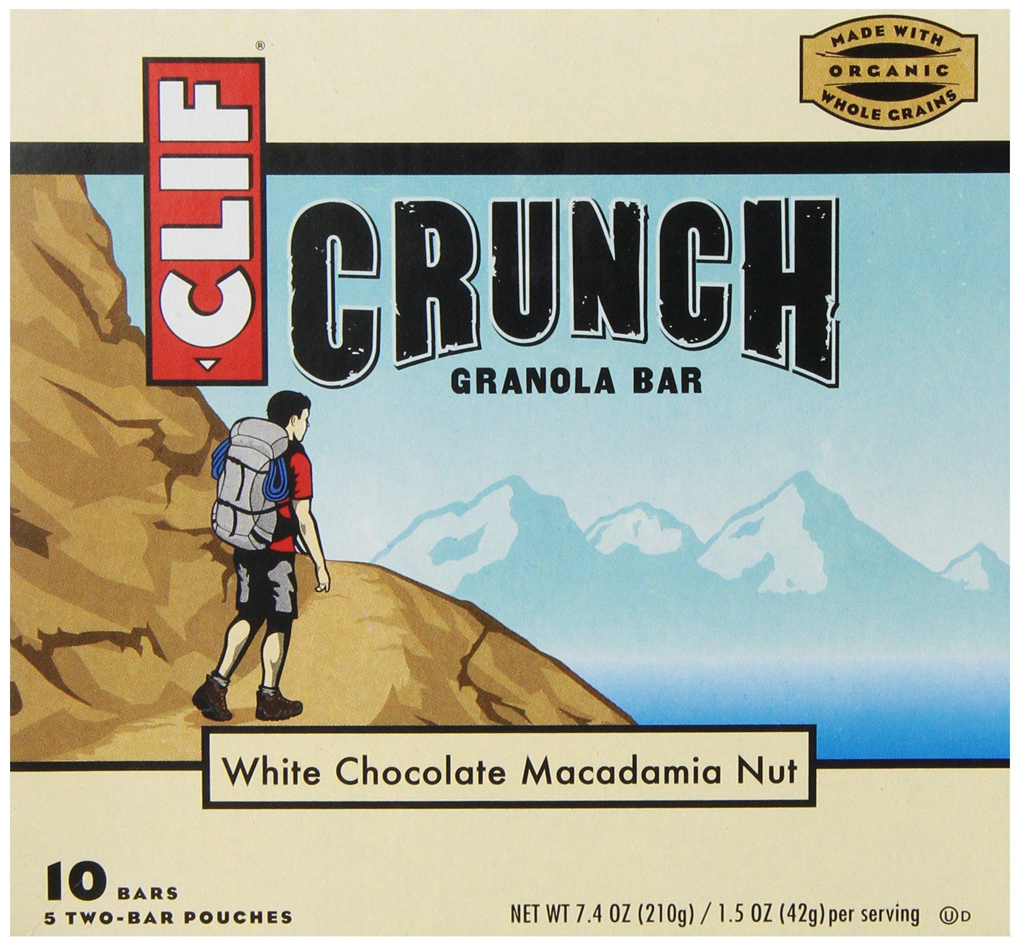 CLIF CRUNCH- Granola Bar - White Chocolate Macadamia - (1.48 Ounce, 5 Two-Bar Snack Pouches)